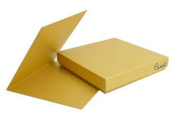 Pudełko z kartą kwadrat złote perłowe - ZESTAW GoatBox