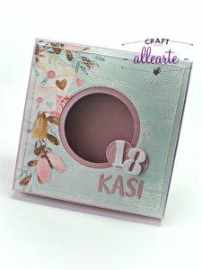 Pudełko na kartkę kwadratową różowe perłowe - GoatBox