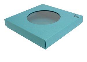 Pudełko na kartkę kwadratową z okrągłym okienkiem kolor turkusowy perłowy  - GoatBox