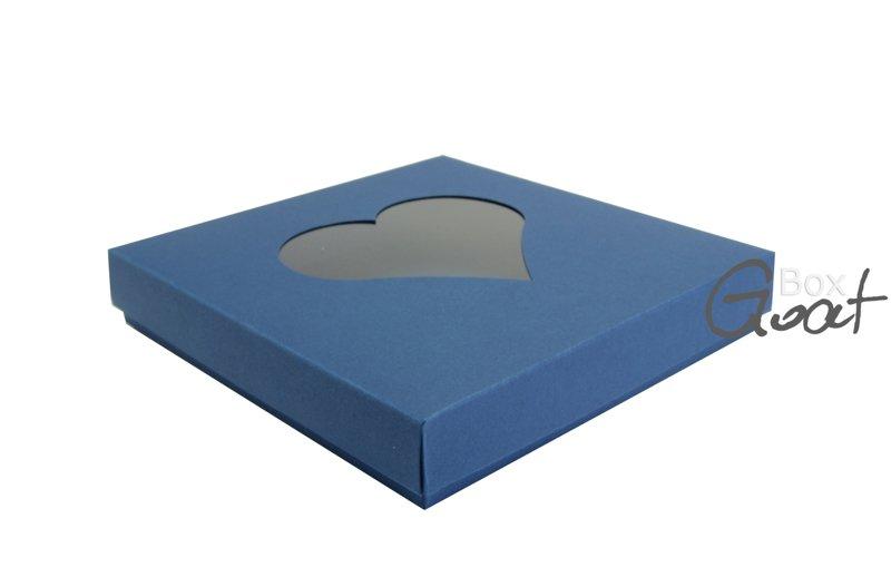 Pudełko na kartkę kwadratową z sercem - ciemny niebieski - GoatBox