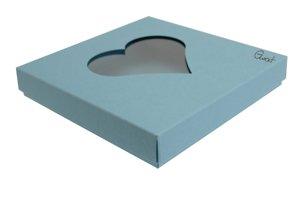 Pudełko na kartkę kwadratową z sercem - niebieskie ze strukturą - GoatBox